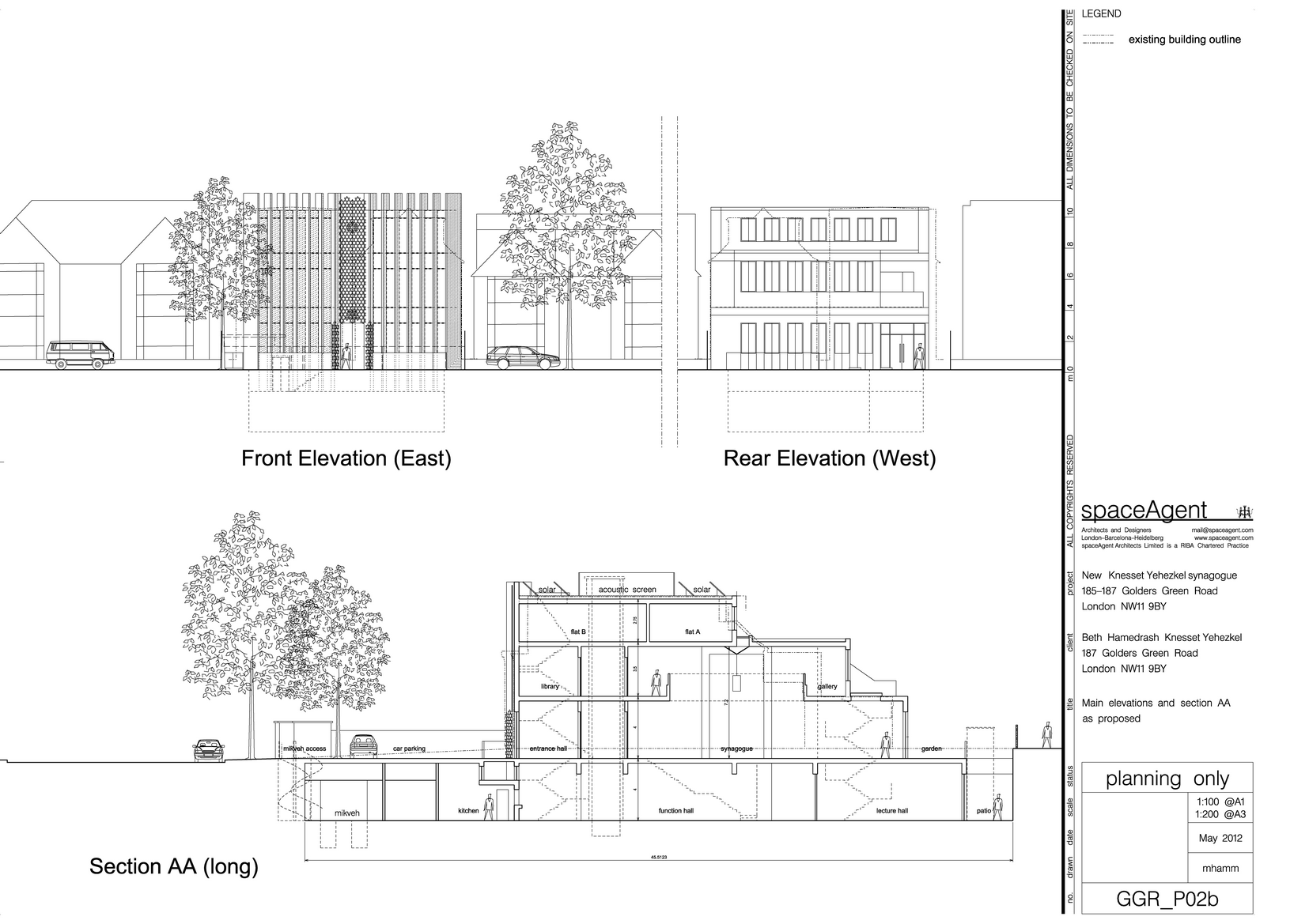main elevations and section